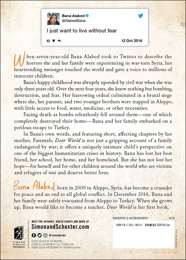 Dear World | Book by Bana Alabed | Official Publisher Page | Simon