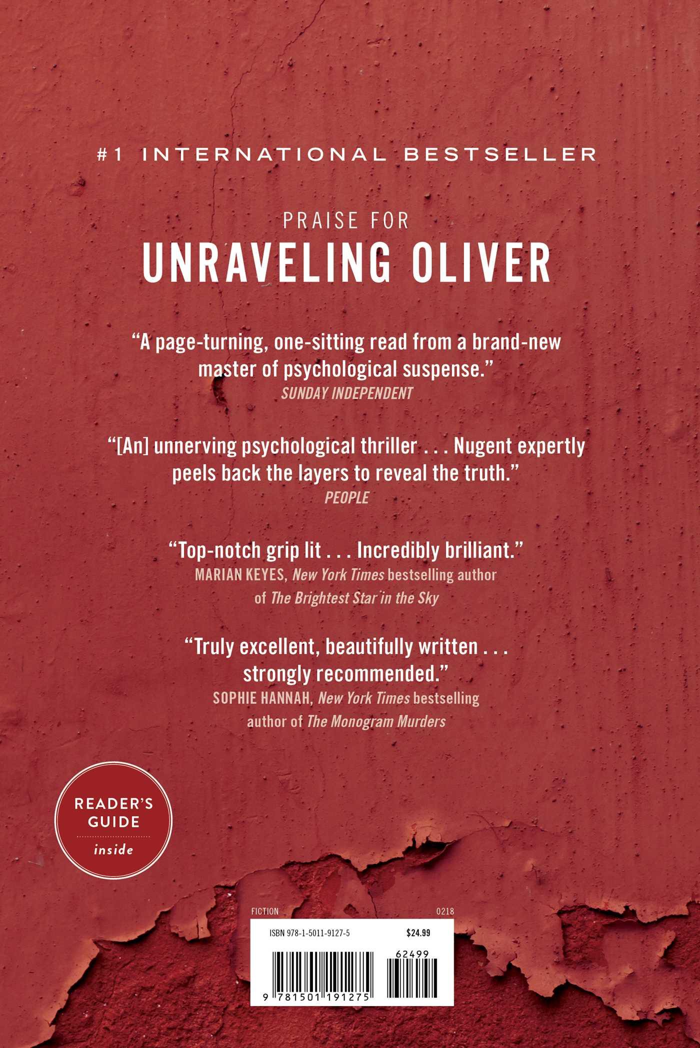 Unraveling oliver 9781501191275 hr back