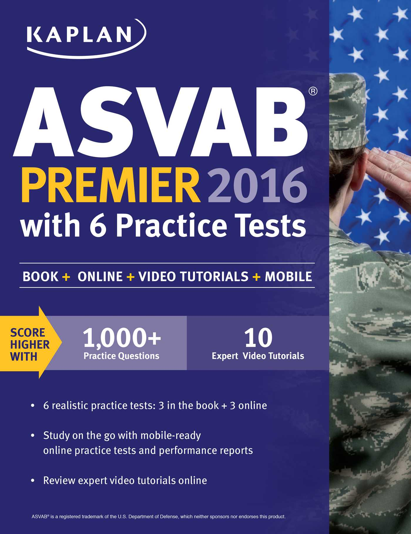 Book Cover Image (jpg): Kaplan ASVAB Premier 2016 with 6 Practice Tests