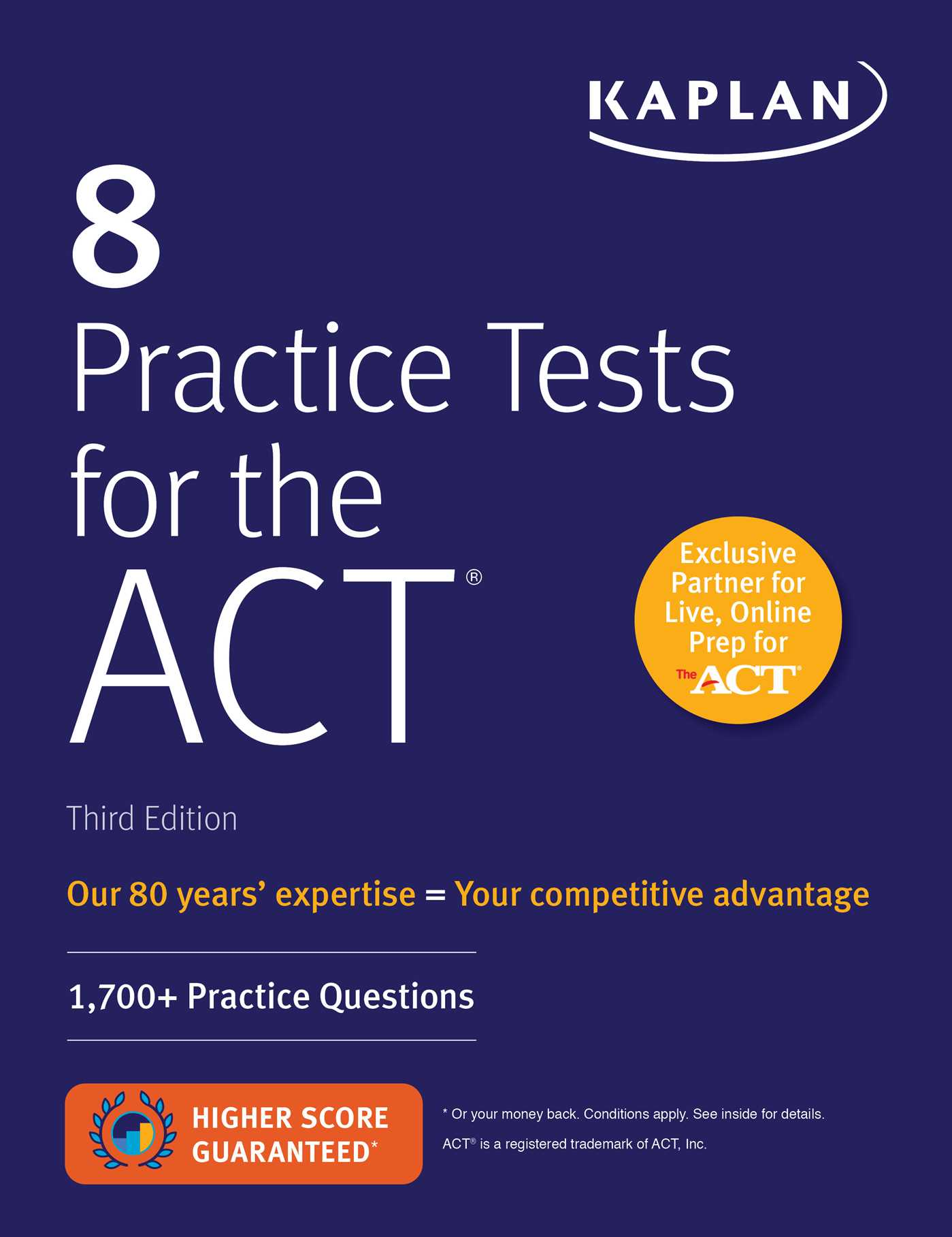 Book Cover Image (jpg): 8 Practice Tests for the ACT. Third Edition Trade  Paperback 9781506235127