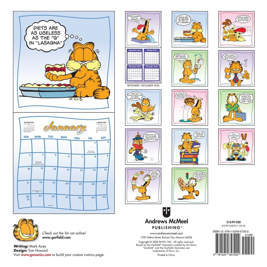 Garfield 2021 Wall Calendar Book Summary Video Official Publisher Page Simon Schuster
