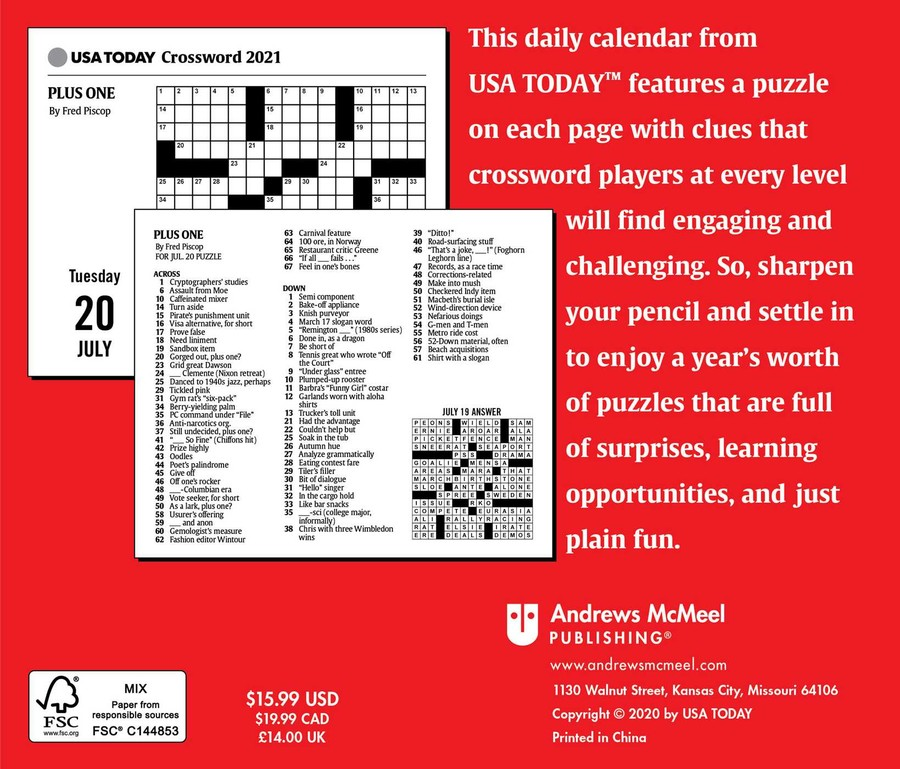 Usa Today Crossword Puzzles 2021 Day To Day Calendar Book Summary Video Official Publisher Page Simon Schuster