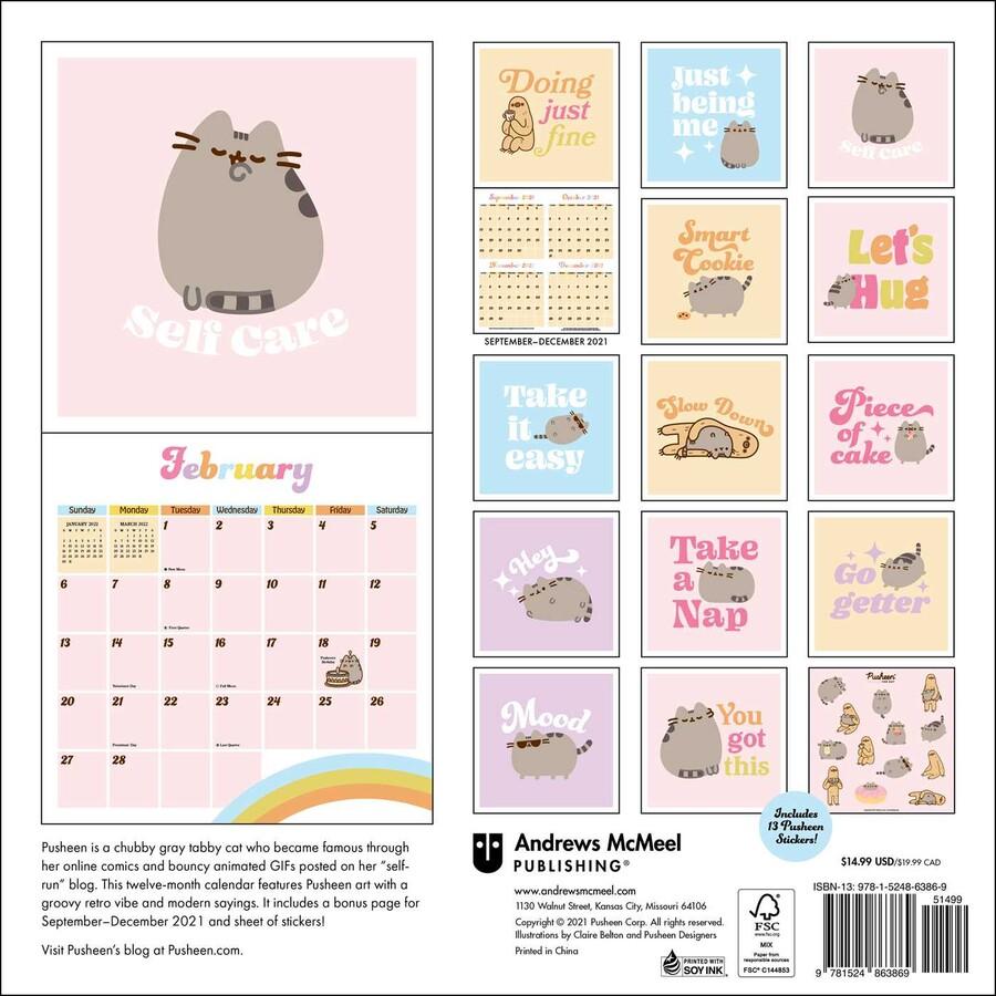 Pusheen Calendar 2022.Pusheen 2022 Wall Calendar Book Summary Video Official Publisher Page Simon Schuster