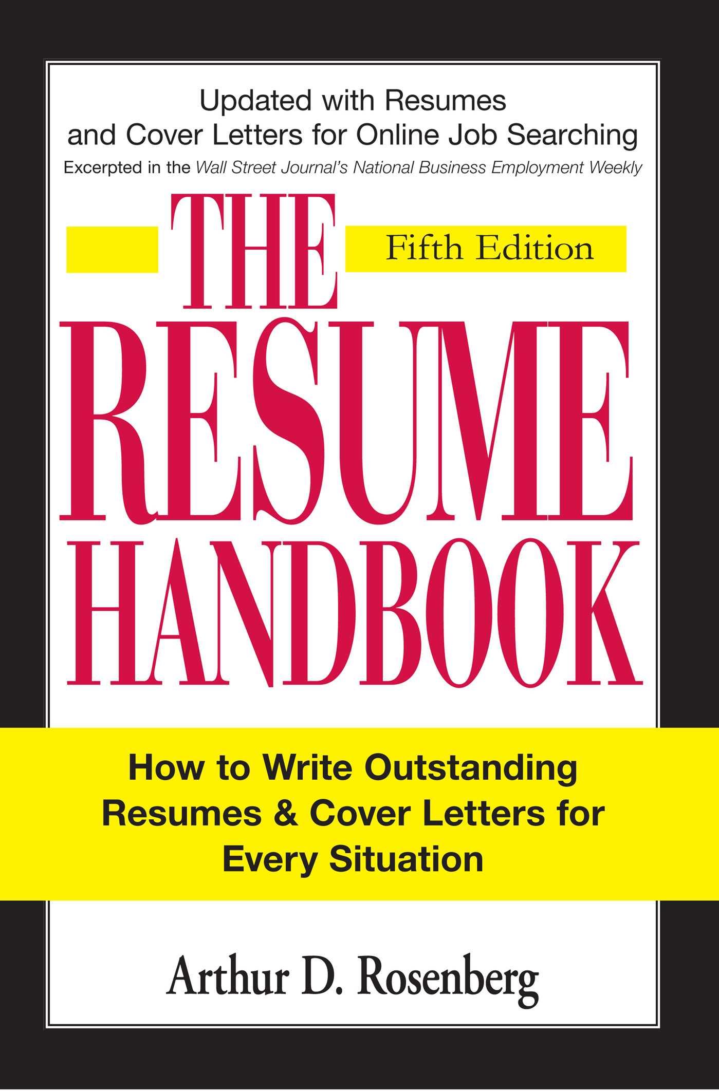 The Resume Handbook Book By Arthur D Rosenberg Official