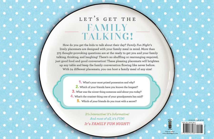 Family Fun Night Conversation Starters Placemats | Book by