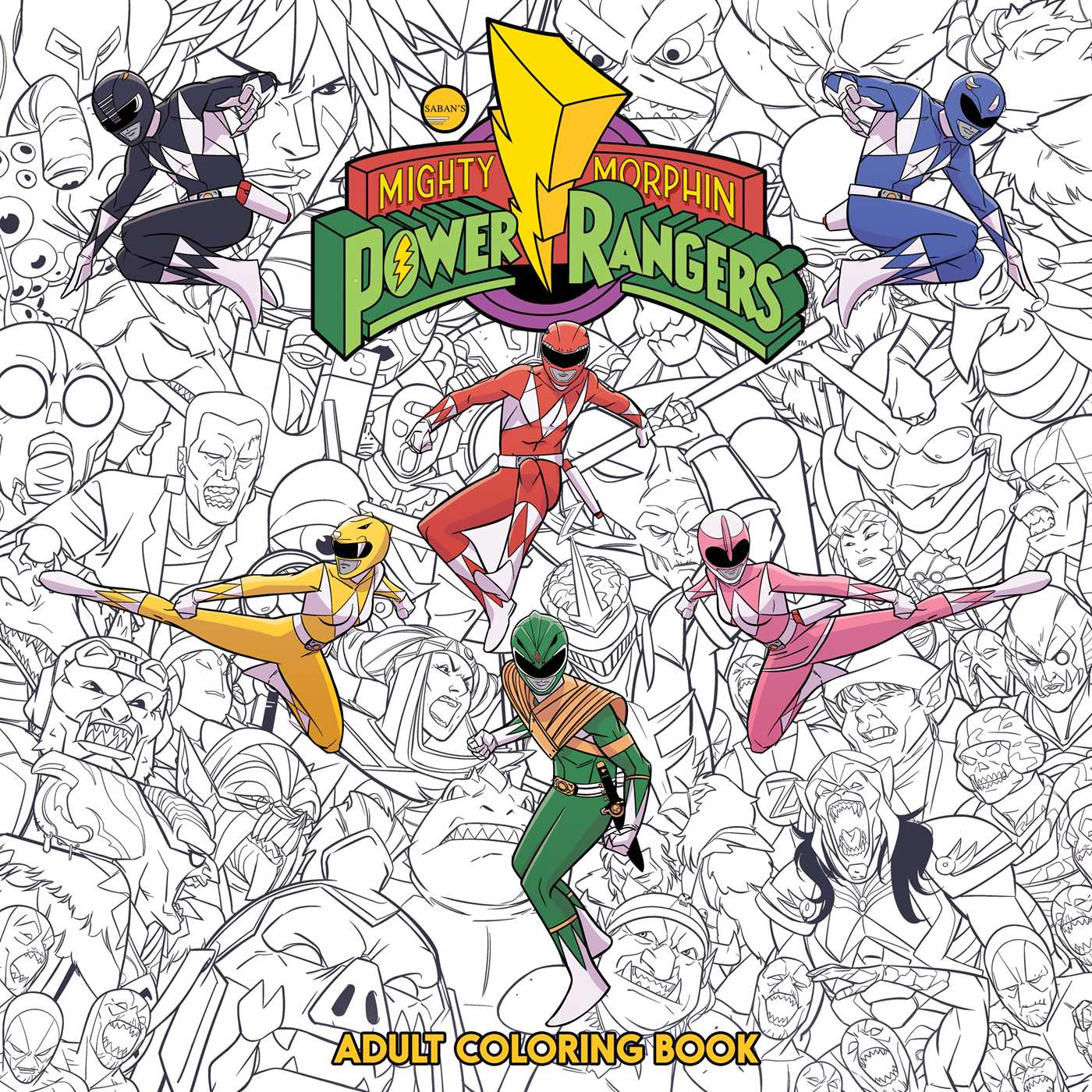 Mighty Morphin Power Rangers Adult Coloring Book 9781608869558 Hr