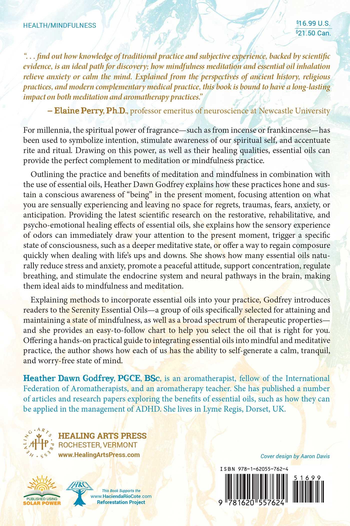 Essential oils for mindfulness and meditation 9781620557624 hr back