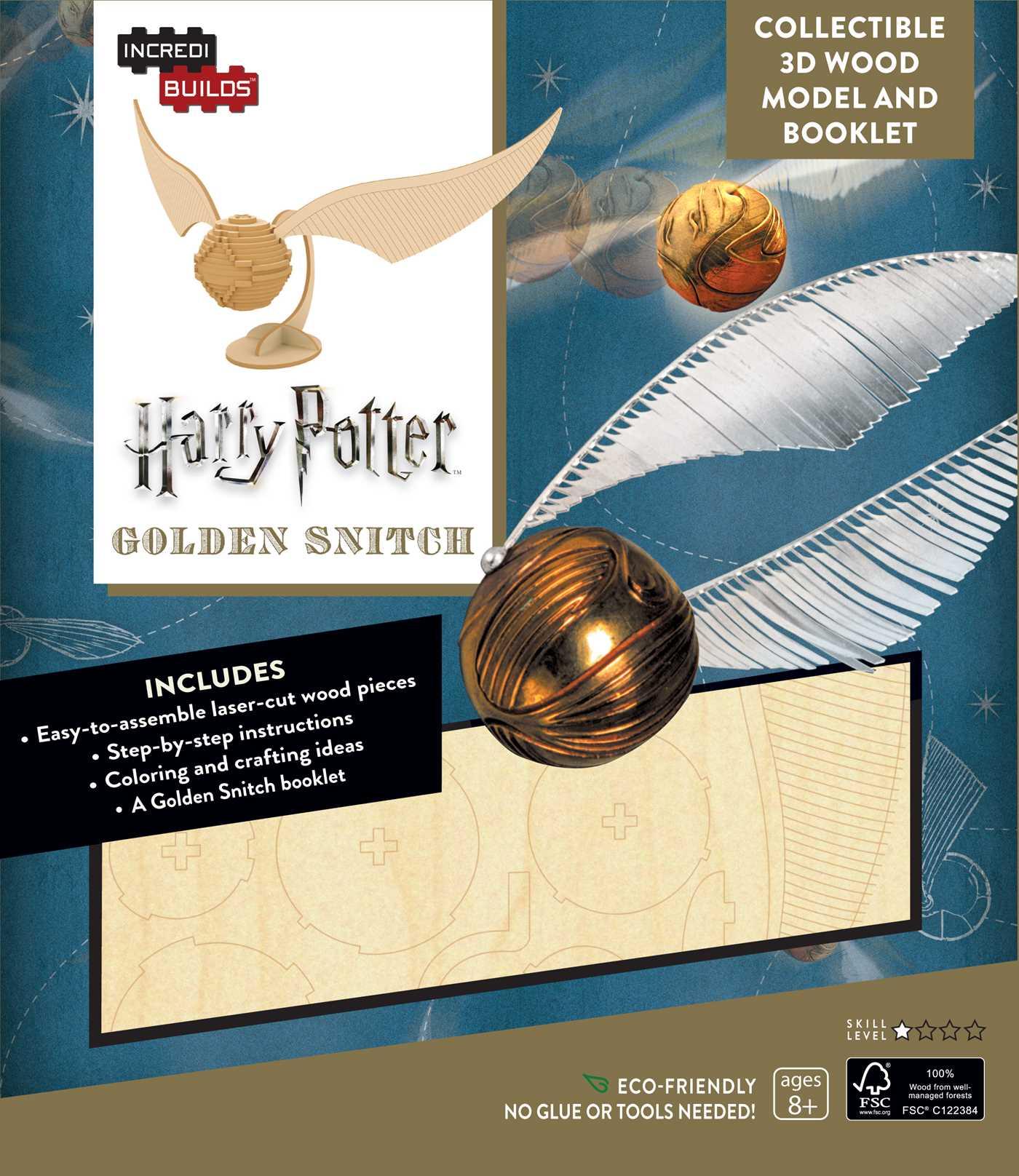 Incredibuilds Harry Potter Golden Snitch 3d Wood Model And Booklet 9781682980309 Hr