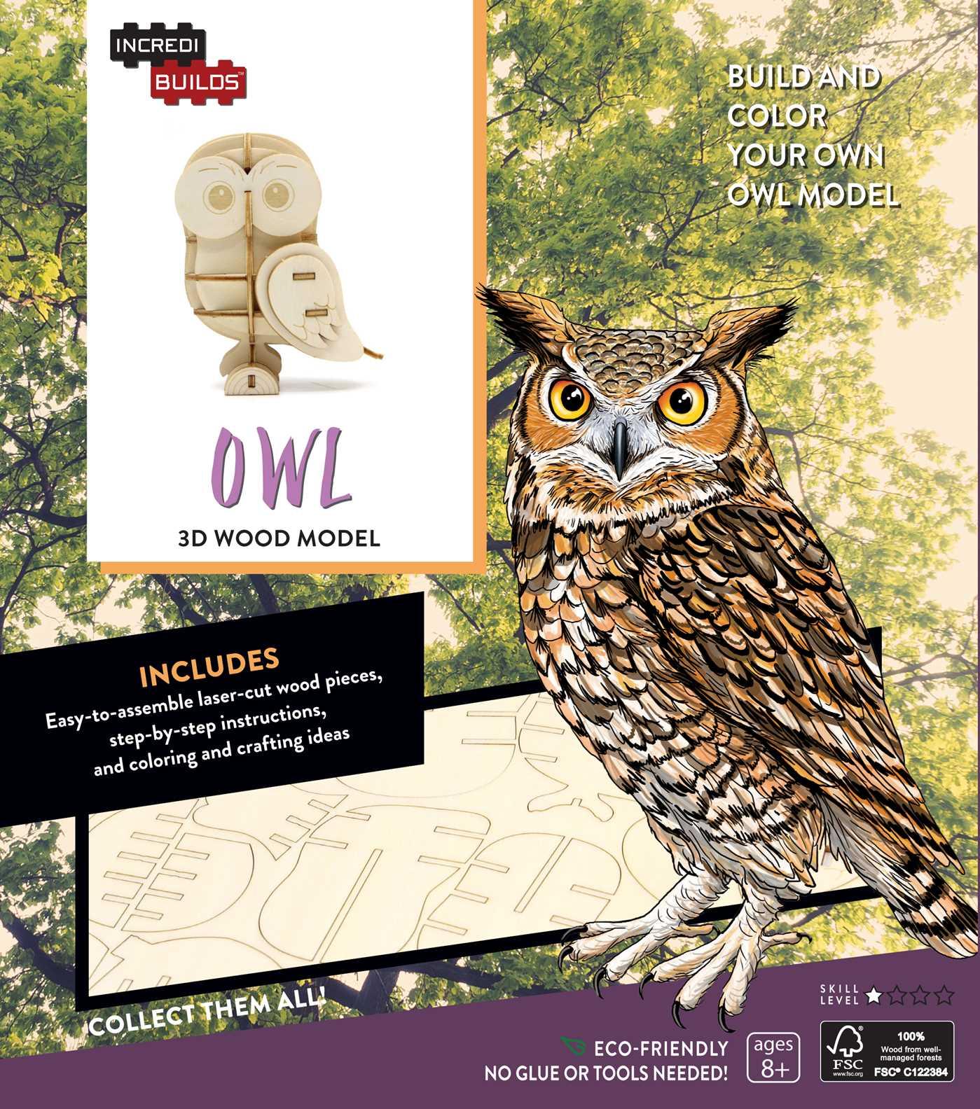 Incredibuilds owl 3d wood model 9781682980408 hr