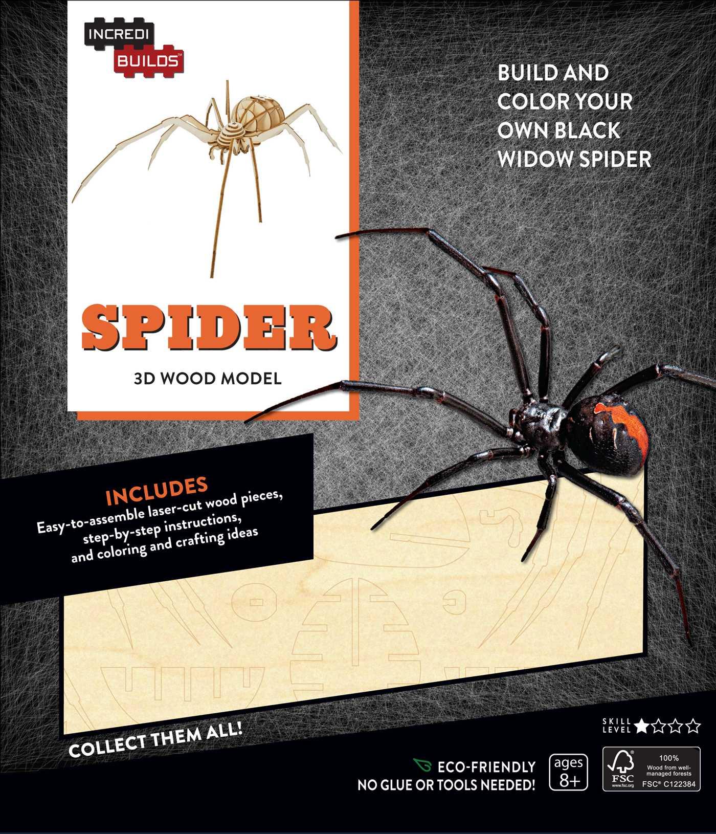 Incredibuilds spider 3d wood model 9781682980415 hr