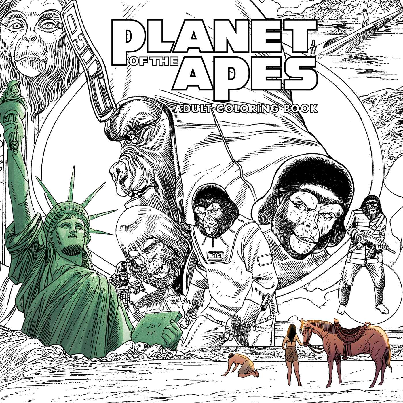 Planet Of The Apes Adult Coloring Book 9781684151868 Hr