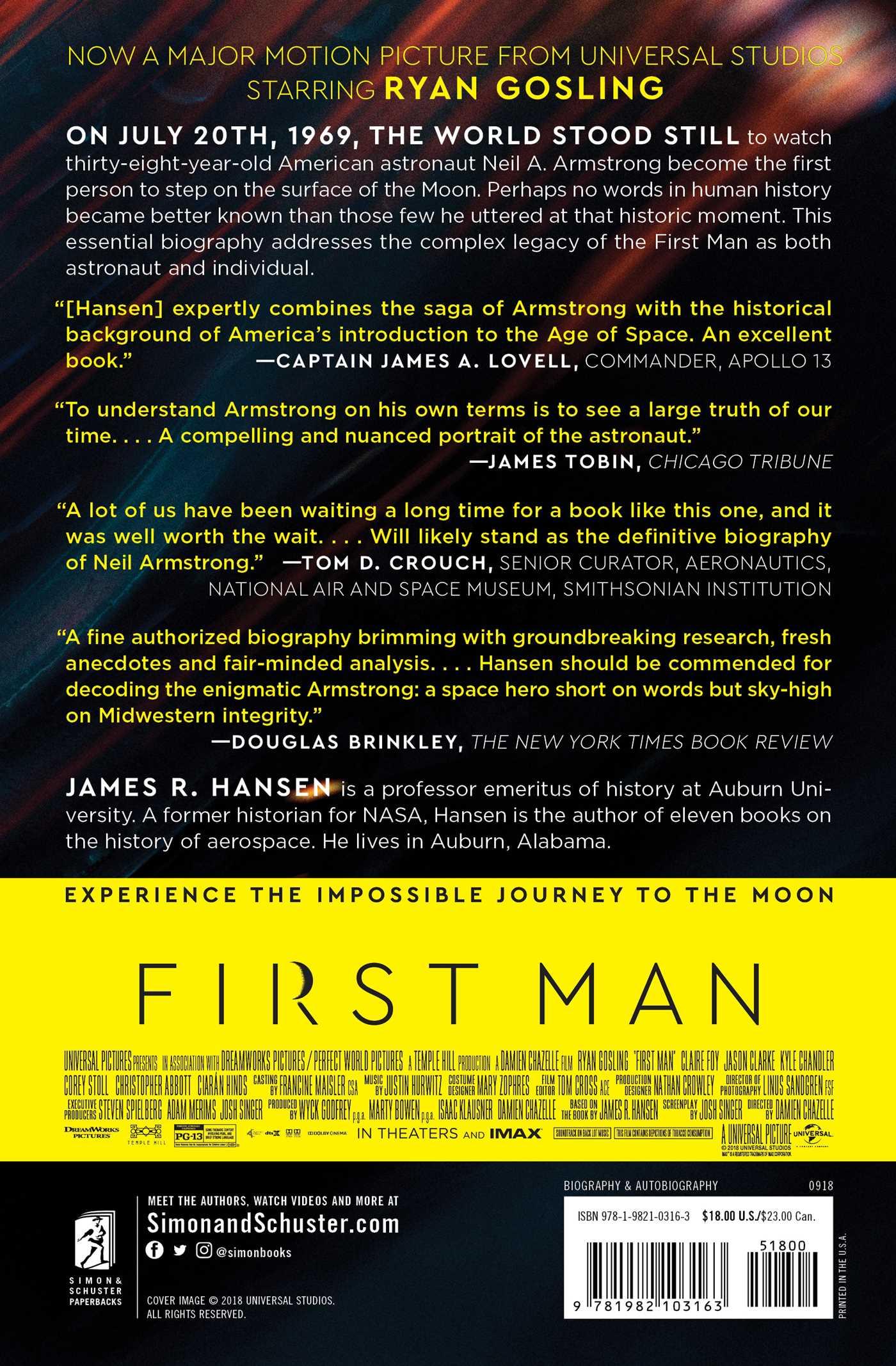 First man 9781982103163 hr back
