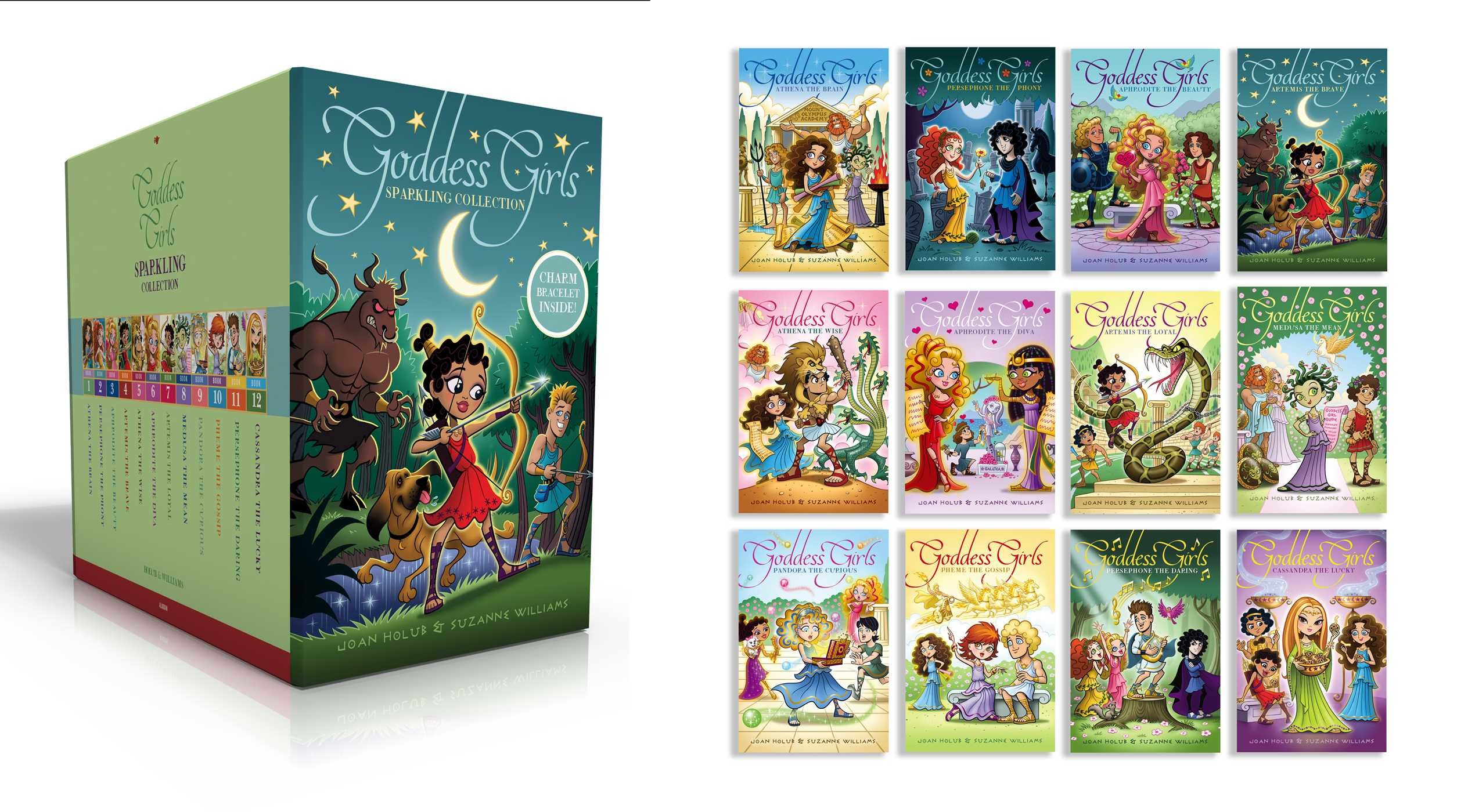Goddess girls sparkling collection books 1 12 charm bracelet included 9781481487238.in01