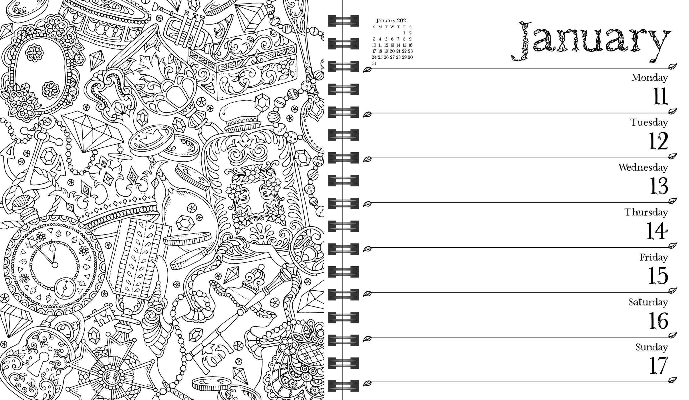 - Johanna Basford 2021 Weekly Coloring Planner Calendar - Book