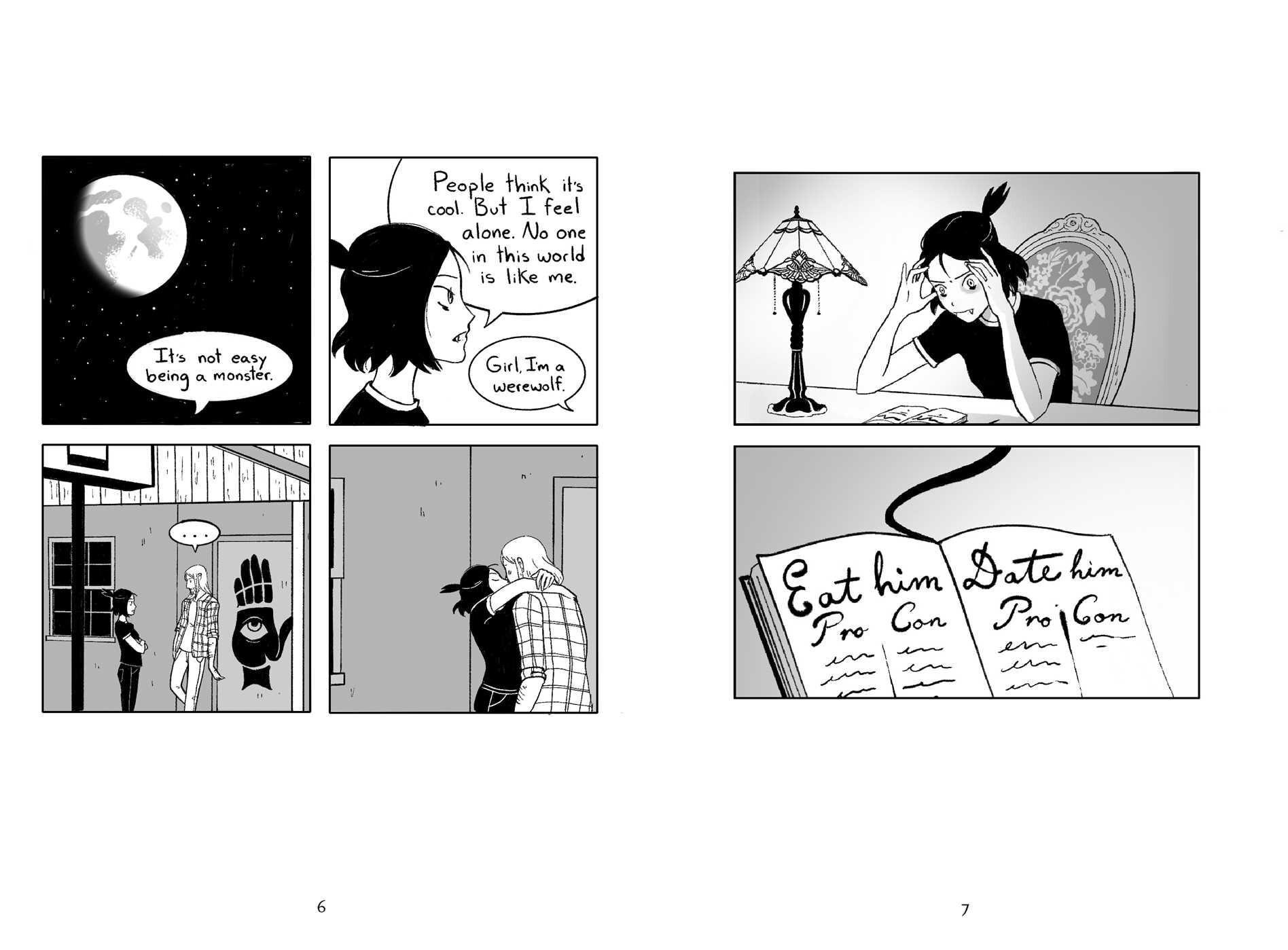 Fangs von Sarah Andersen. Comic. Abbildung einer Doppelseite des Comics, Seiten 6 und 7.  Kurzrezension Fantasy 2