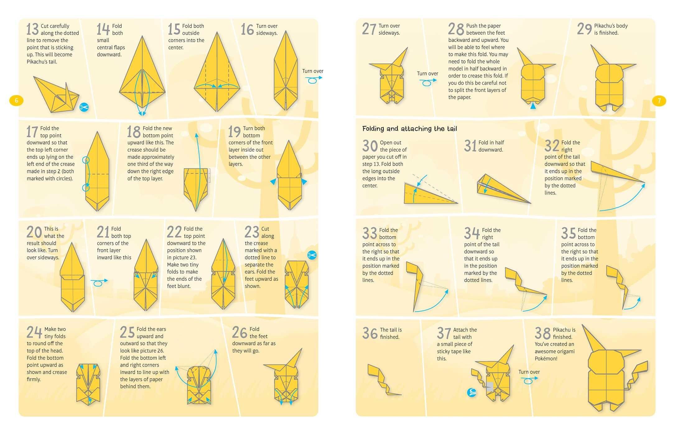 pokemon origami fold your own pokemon book by pikachu