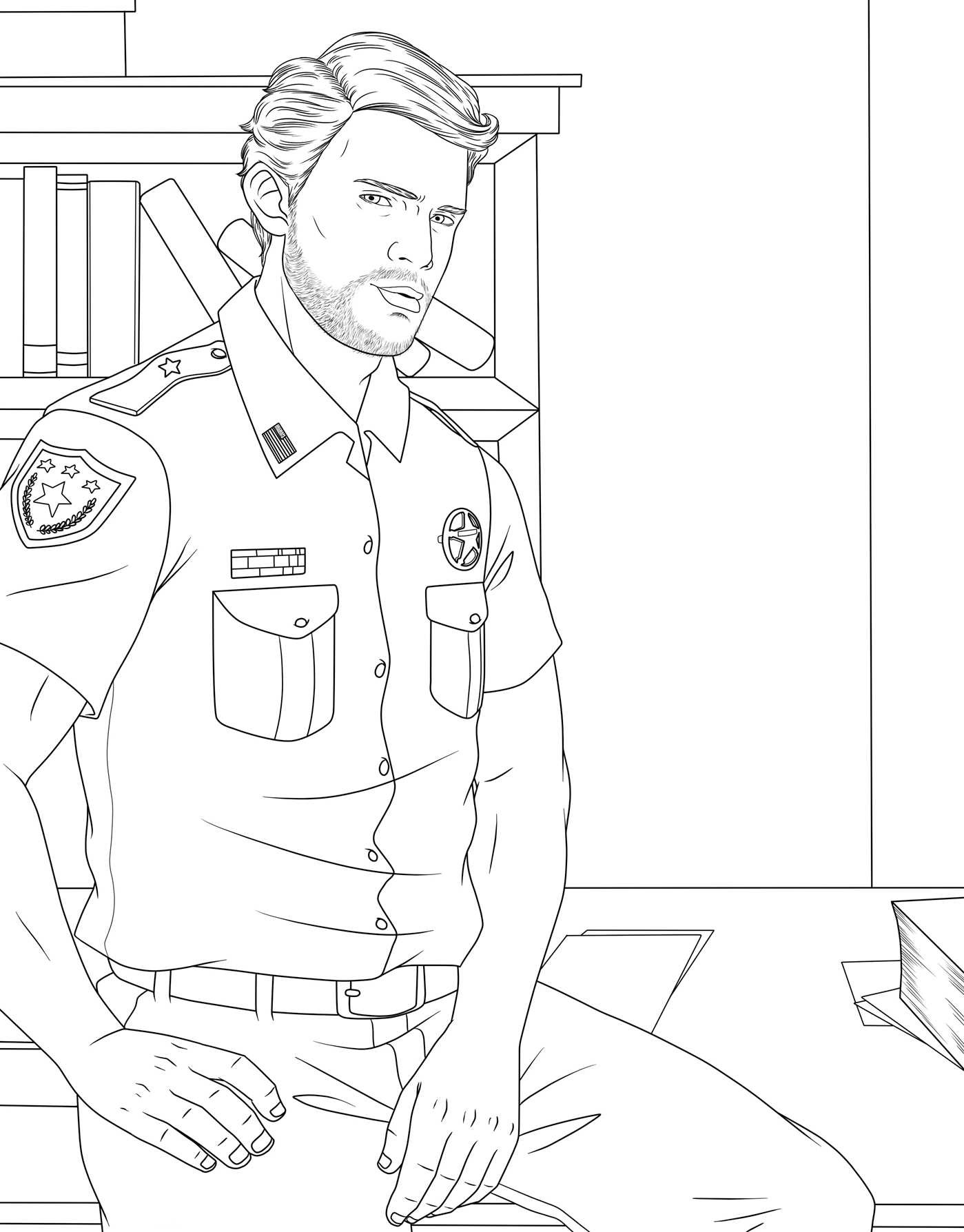 Men in uniform adult coloring book