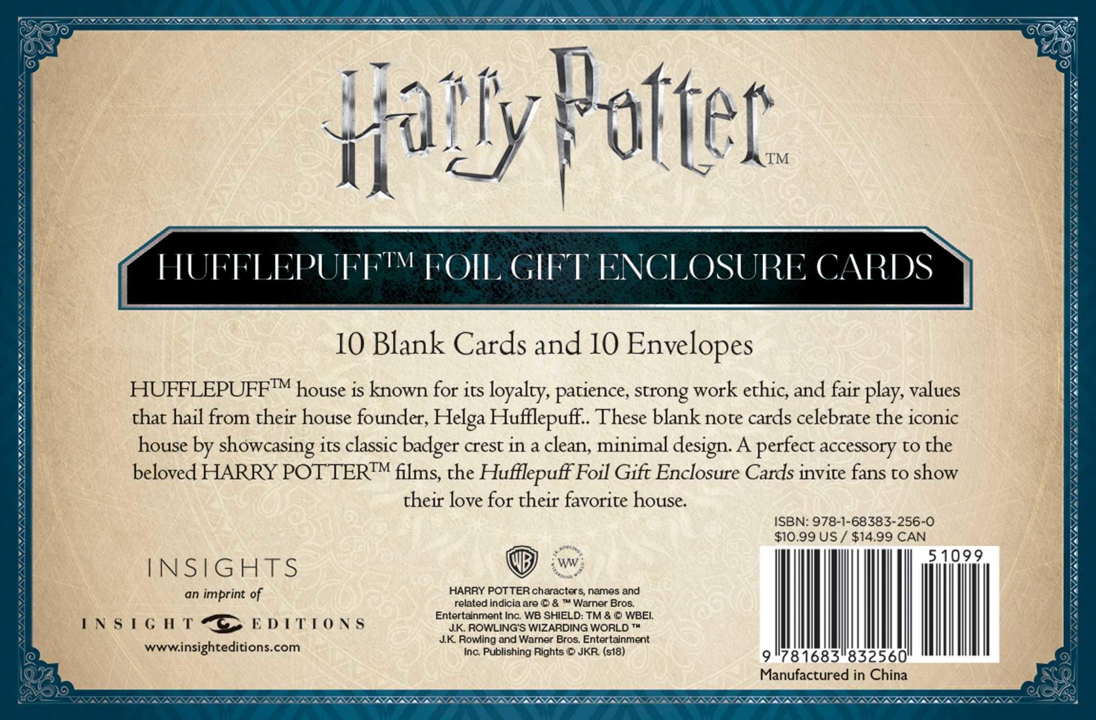 Harry potter hufflepuff crest foil gift enclosure cards set of 10 9781683832560.in02
