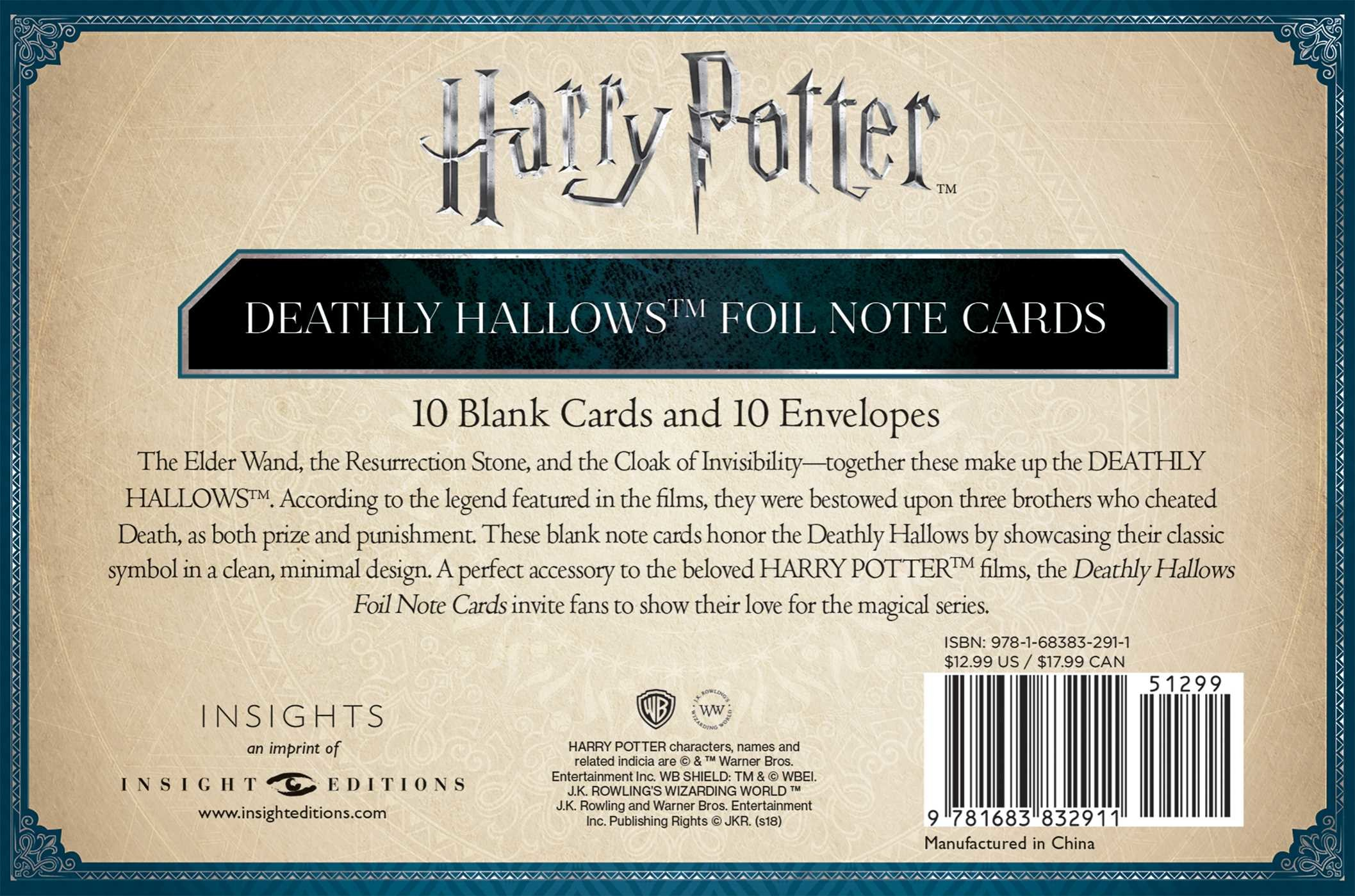 Harry potter deathly hallows foil note cards set of 10 9781683832911.in02