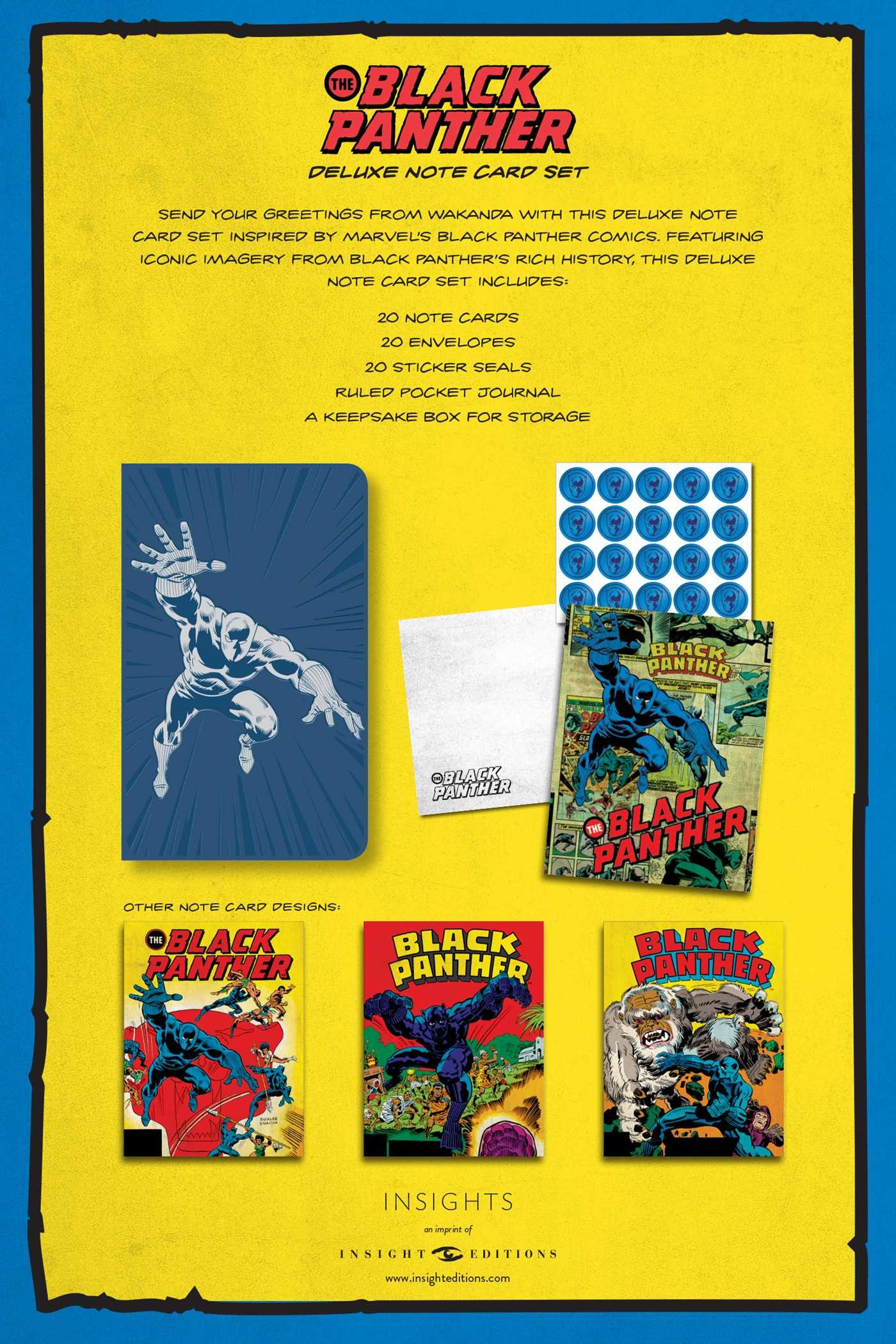 Marvel comics black panther deluxe note card set with keepsake book box 9781683833390.in09