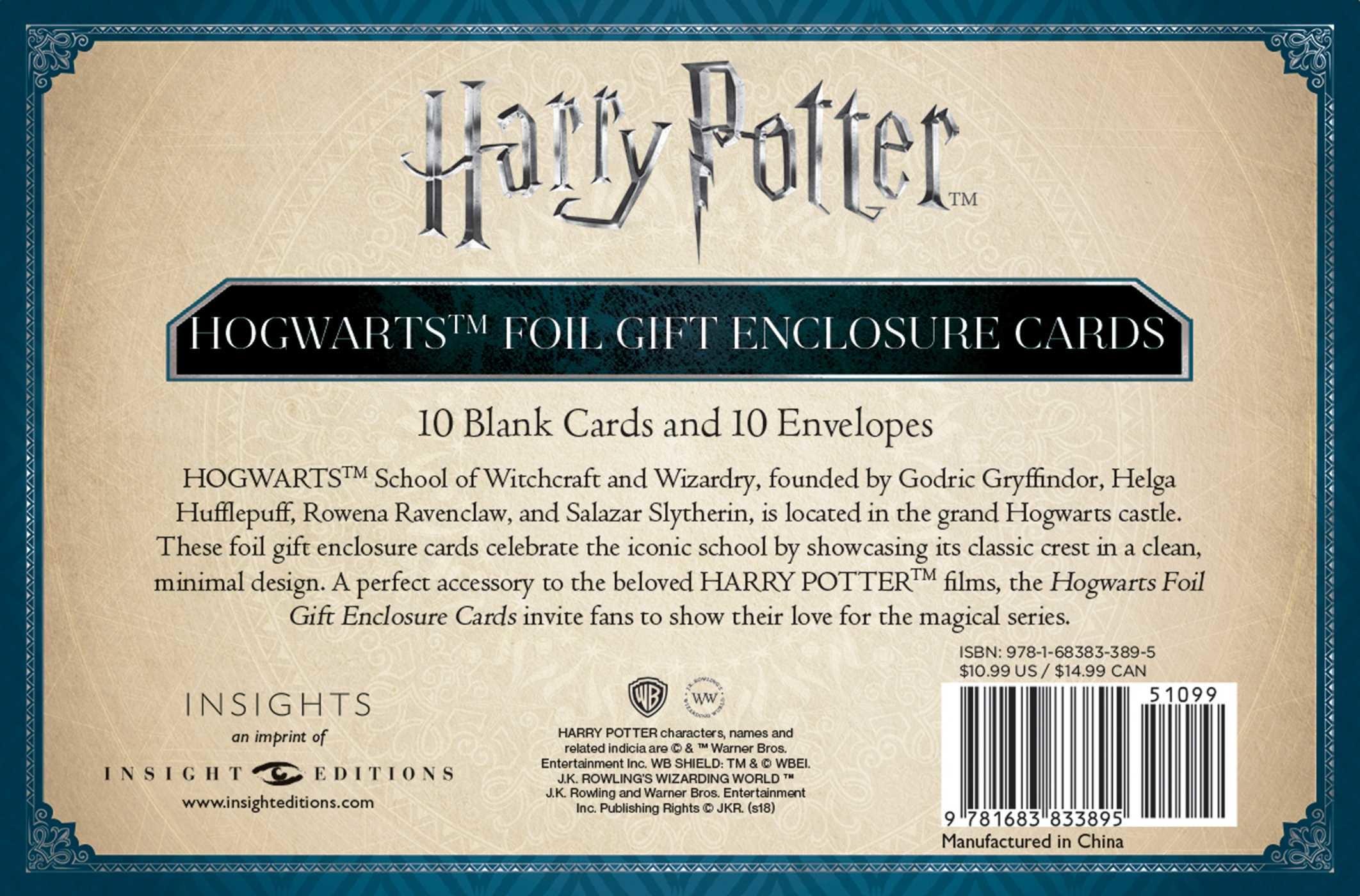 Harry potter hogwarts foil gift enclosure cards set of 10 book harry potter hogwarts crest foil gift enclosure cards set of 10 978168383389501 fandeluxe Image collections