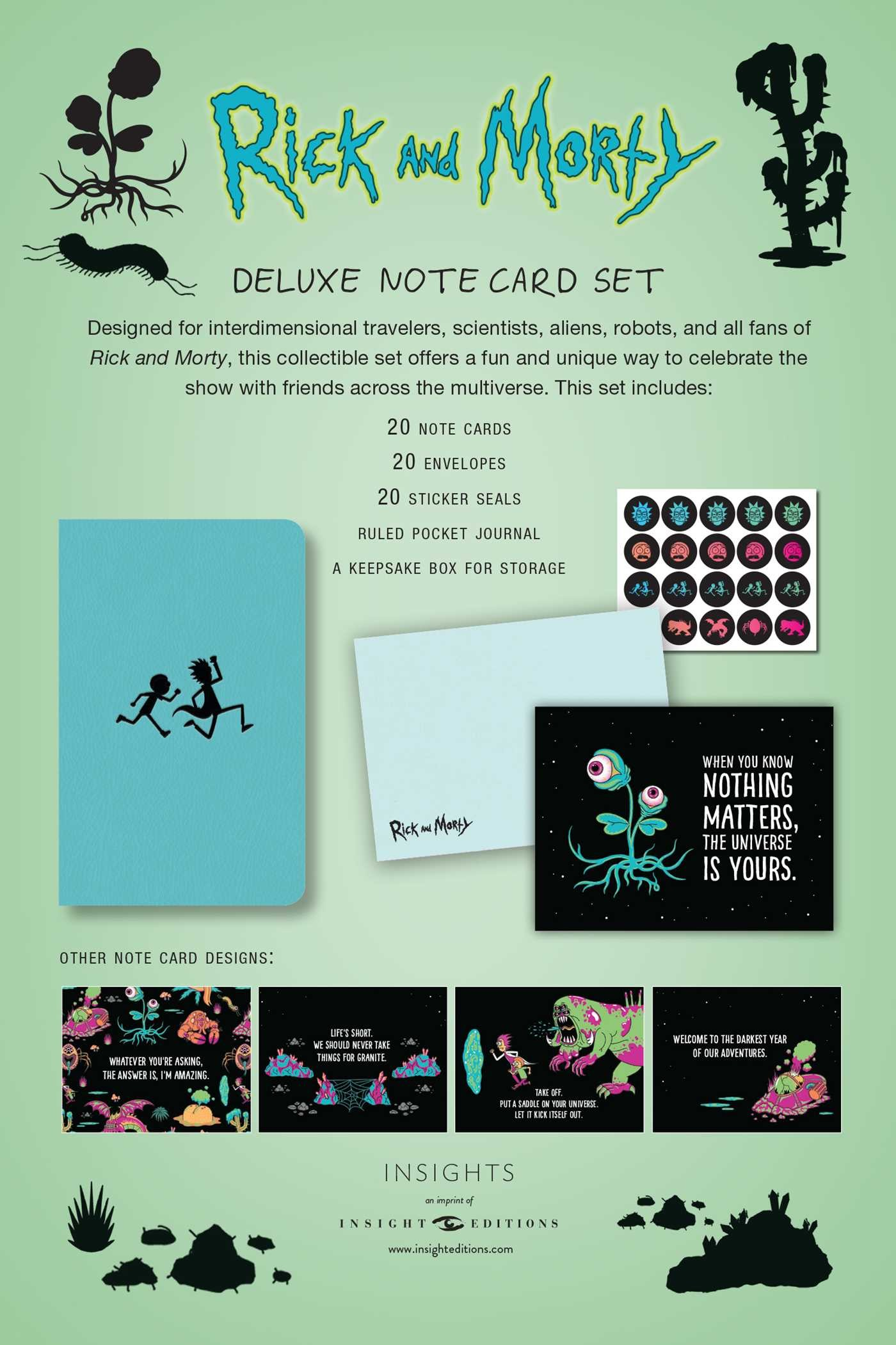 Rick and Morty Deluxe Note Card Set (With Keepsake Book Box) | Book