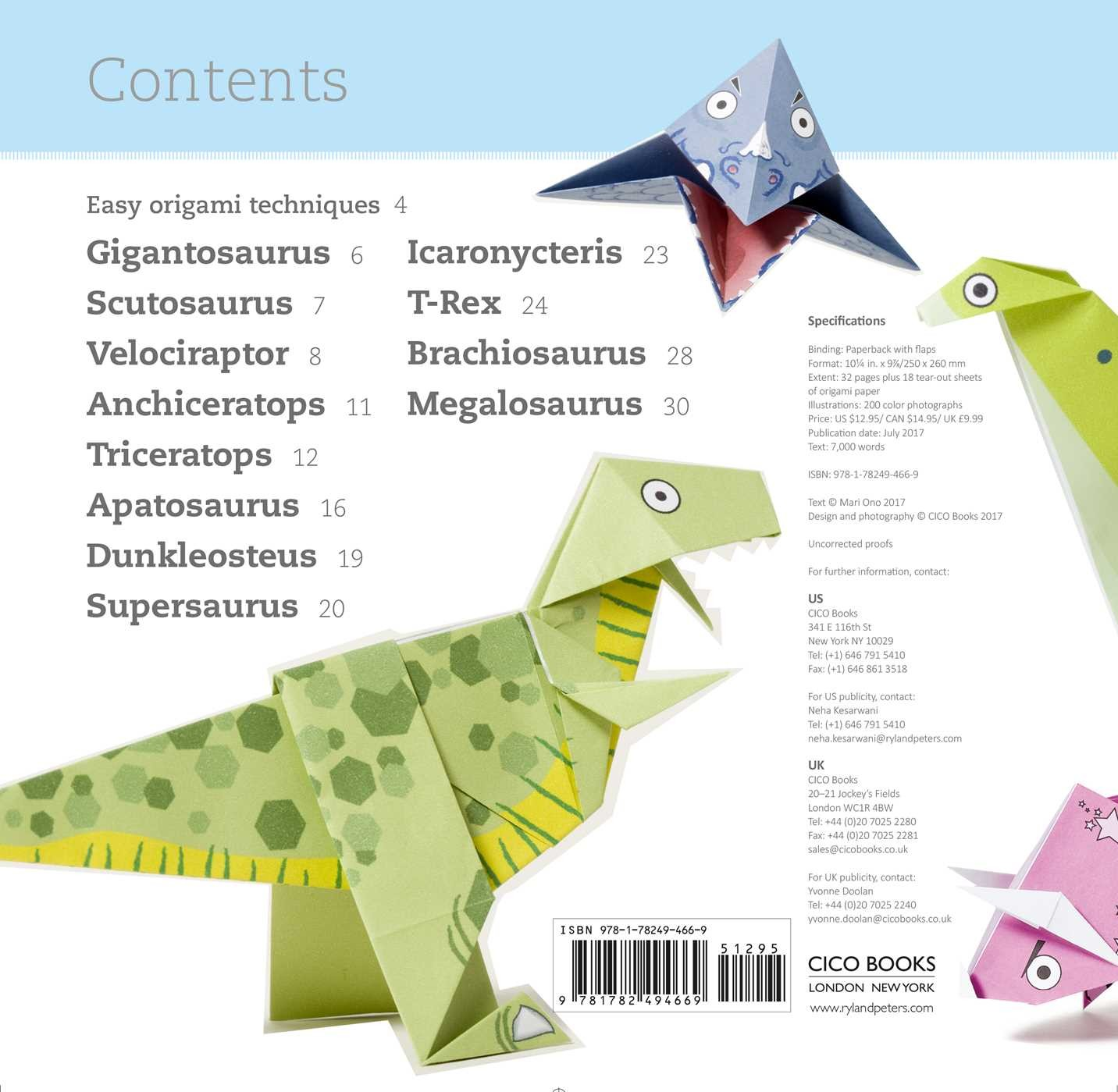 Fun Origami for Children: Dino! | Book by Mari Ono ... - photo#24