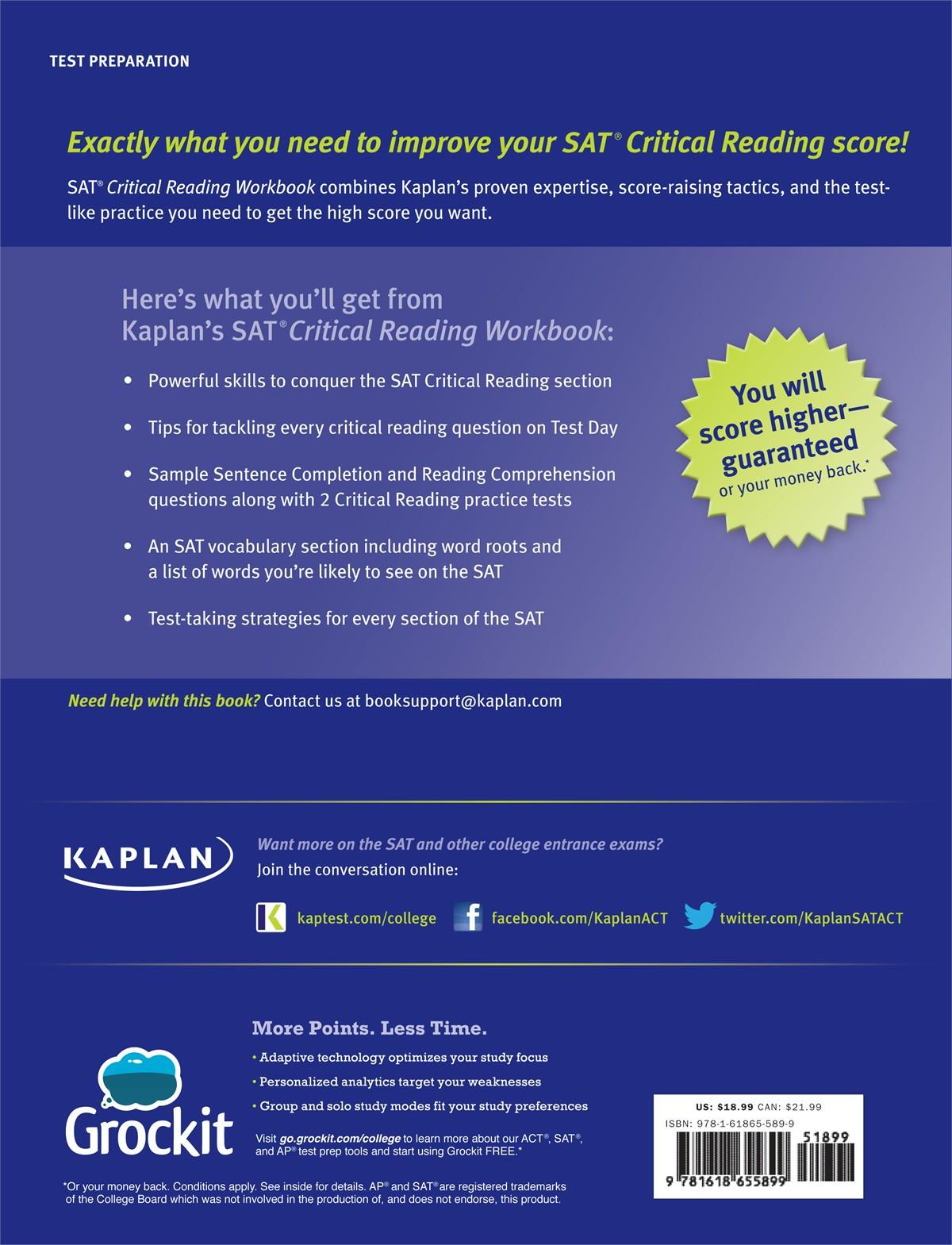 Workbooks kaplan sat critical reading workbook : Kaplan SAT Critical Reading Workbook - PDF books with free ebook ...